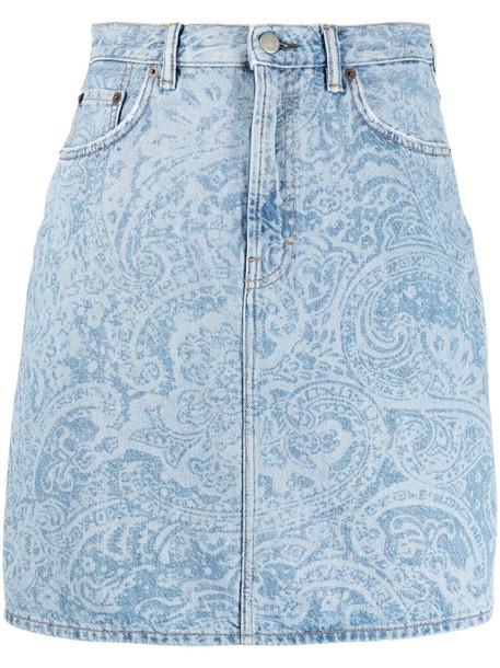 Acne Studios paisley print denim skirt in blue