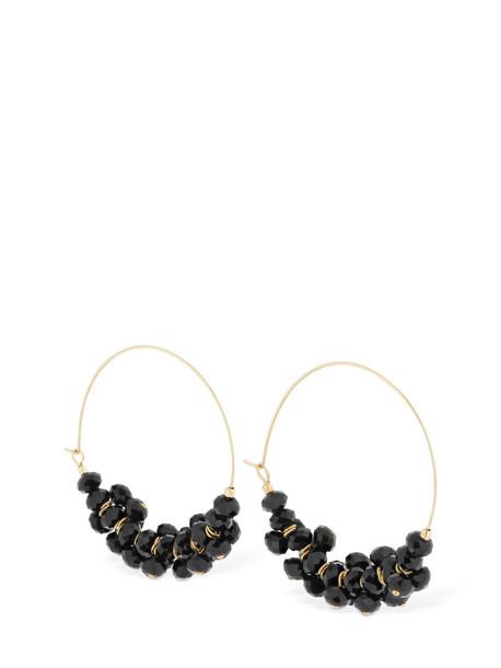 ISABEL MARANT Beaded Hoop Earrings in black / gold