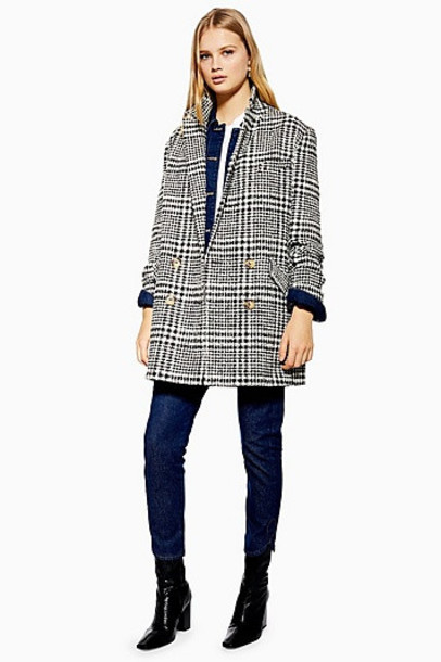 TopShop Check Coat - Monochrome