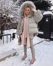 sweater,oversized sweater,shoes,skinny pants,grey pants,pink sweater,knitted scarf,grey jacket,puffer jacket,handbag