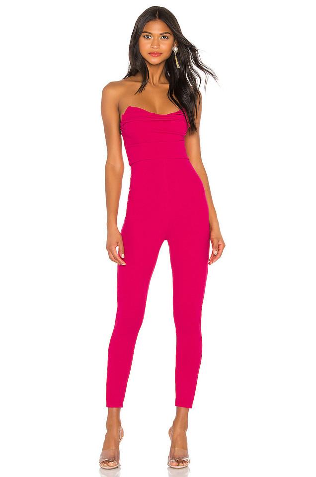 superdown Clarice Strapless Jumpsuit in pink