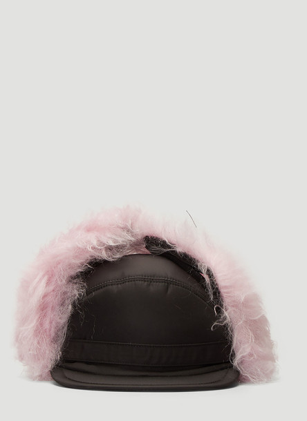 Prada Mohair Blend-Trimmed Hat in Pink size M