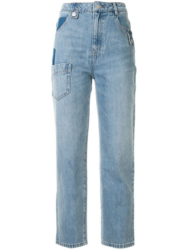 PortsPURE patchwork straight-leg jeans in blue