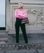 bag,handbag,plaid,ankle boots,balenciaga,high waisted pants,black pants,straight pants,pink sweater,h&m