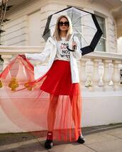 shoes,ankle boots,black boots,hunter boots,red skirt,tulle skirt,maxi skirt,white jacket,white t-shirt