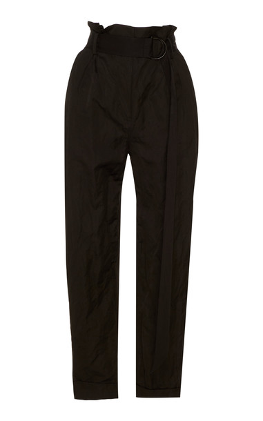 Jason Wu Collection Belted Washed Sateen Tapered Pants Size: 0 in black