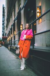not jess fashion,blogger,coat,sweater,skirt,shoes,bag,winter outfits,over the knee boots