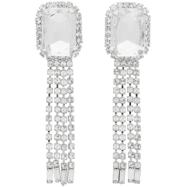 Wandering Silver Crystal Chains Earrings