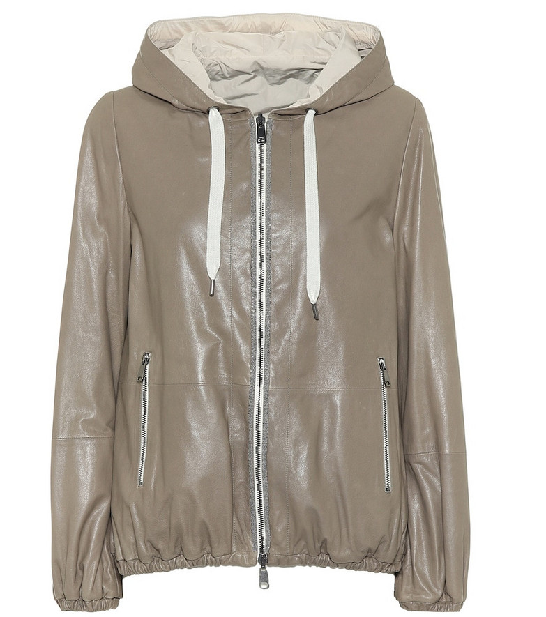 Brunello Cucinelli Reversible leather hooded jacket in beige