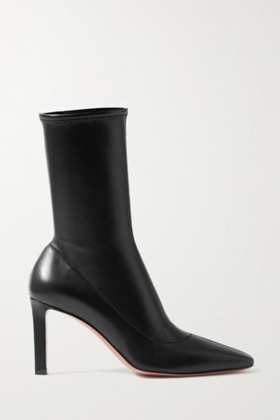 Amina Muaddi - Hannah Leather Ankle Boots - Black