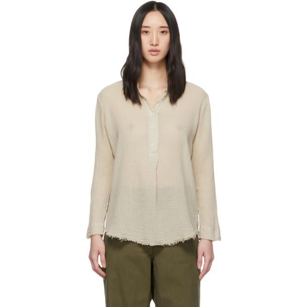 Raquel Allegra Beige Perfect Henley Shirt