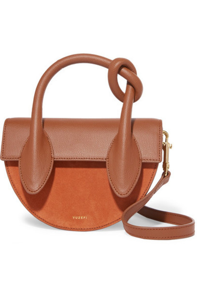 Yuzefi - Dolores Suede And Textured-leather Shoulder Bag - Brown