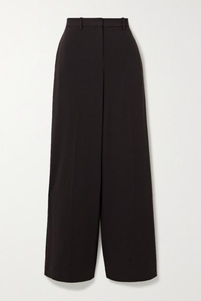 Theory - Crepe Wide-leg Pants - Dark brown