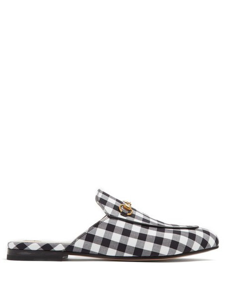 Gucci - Princetown Gingham Backless Loafers - Womens - Black White