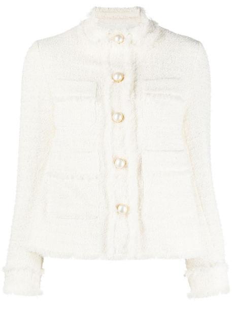 Pinko buttoned tweed jacket in neutrals