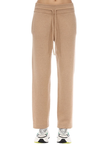 AGNONA Cashmere Blend Knit Track Pants in beige
