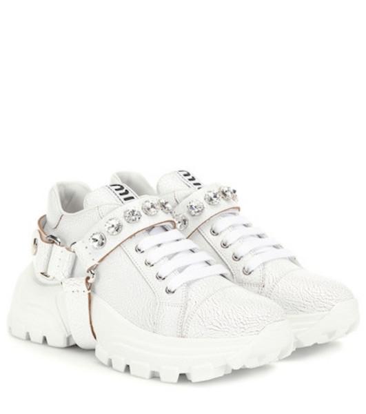 Miu Miu Embellished leather sneakers in white