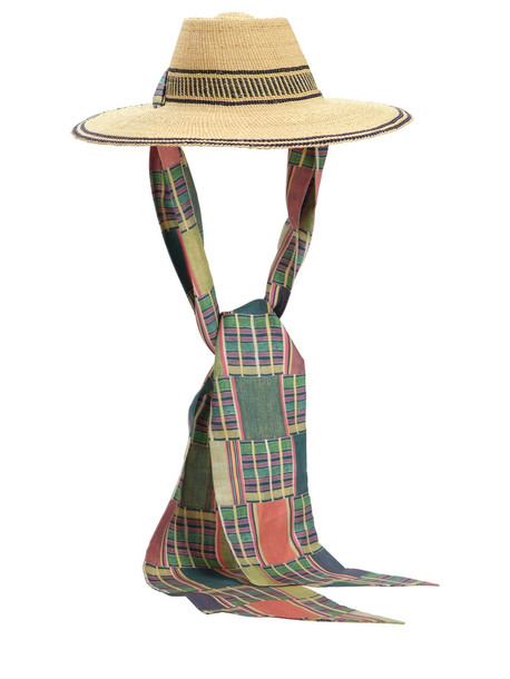 MARGHERITA X CAMBIAGHI X OAFRICA Oafrica Brimmed Straw Hat W/ Long Scarf in blue / beige / beige
