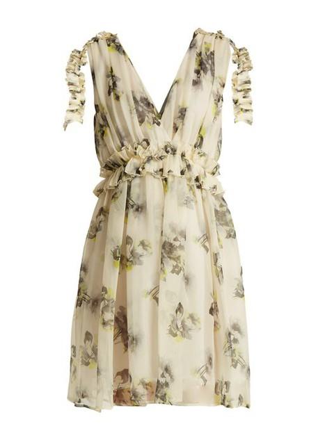 Msgm - Silk Chiffon Floral Mini Dress - Womens - White Multi