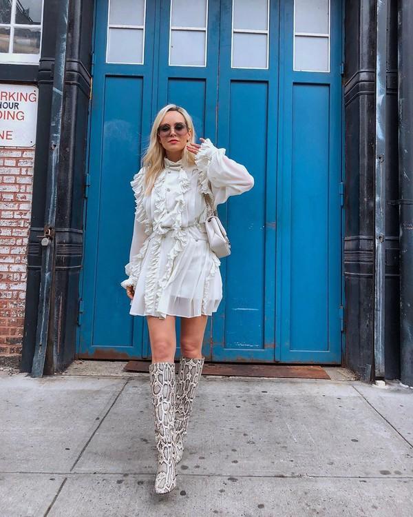 dress mini dress turtleneck dress ruffle dress snake print knee high boots shoulder bag