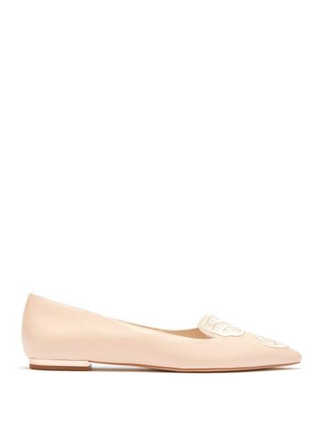 Sophia Webster - Bibi Crystal Butterfly Leather Ballet Flats - Womens - Light Pink