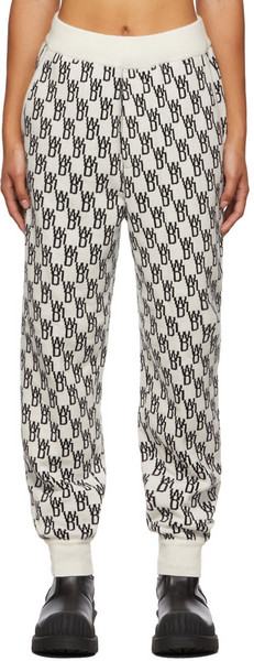 We11done Off-White Wool Logo Lounge Pants in ivory