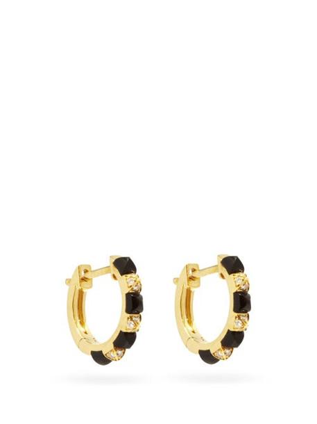 Raphaele Canot - Diamond, Onyx & 18kt Gold Hoop Earrings - Womens - Black Gold