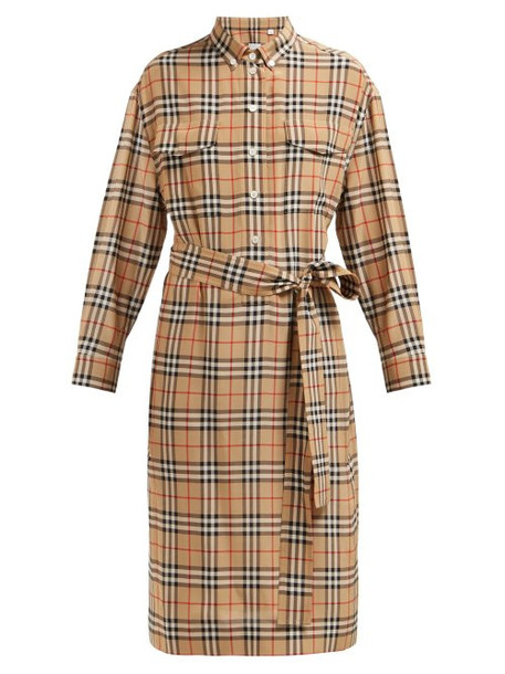 Burberry - House Check Silk Shirtdress - Womens - Beige Multi