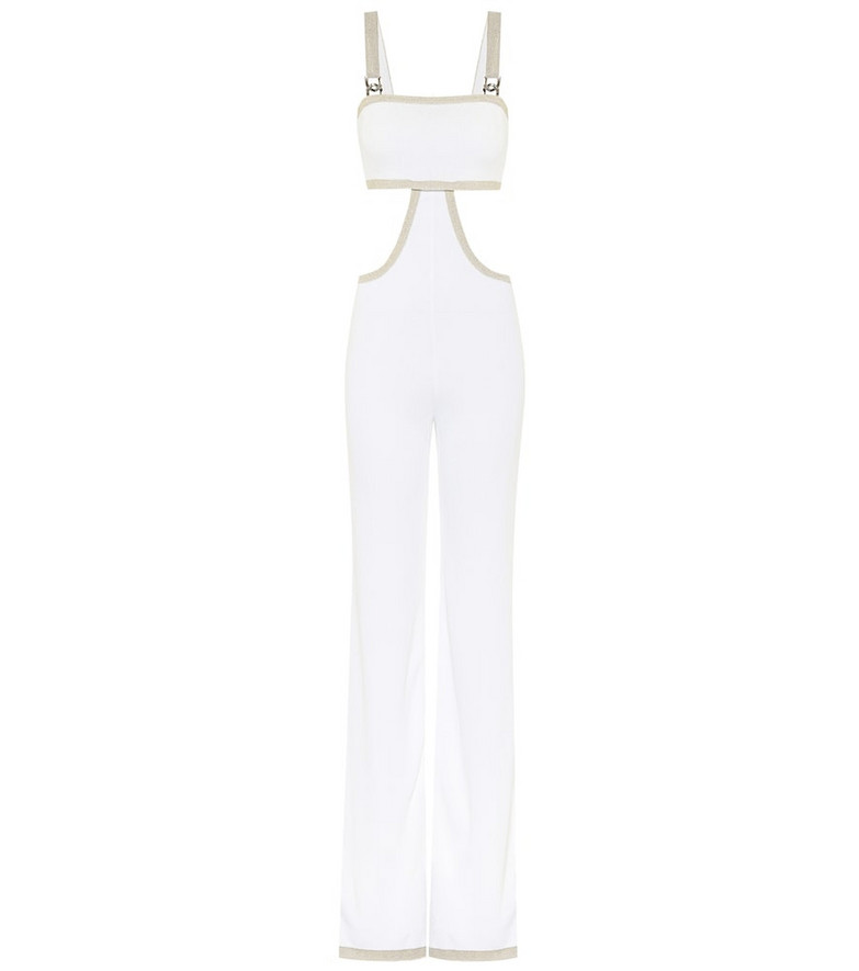 Balmain Exclusive to Mytheresa – Cut-out knit jumpsuit in white