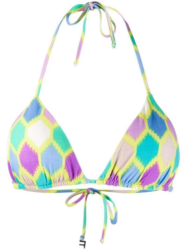 Fisico geometric print bikini top in green