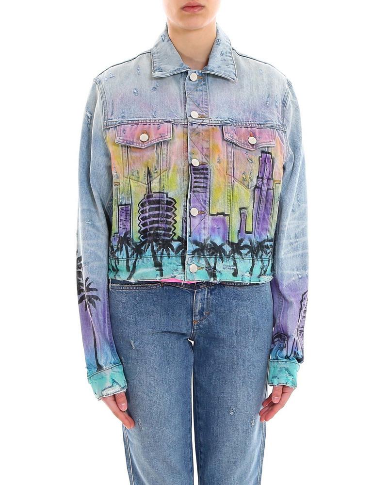 AMIRI Airbrush Hollywood Trucker Jacket in blue