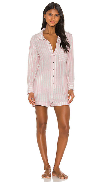 Plush Soft Striped Linen Romper in Pink