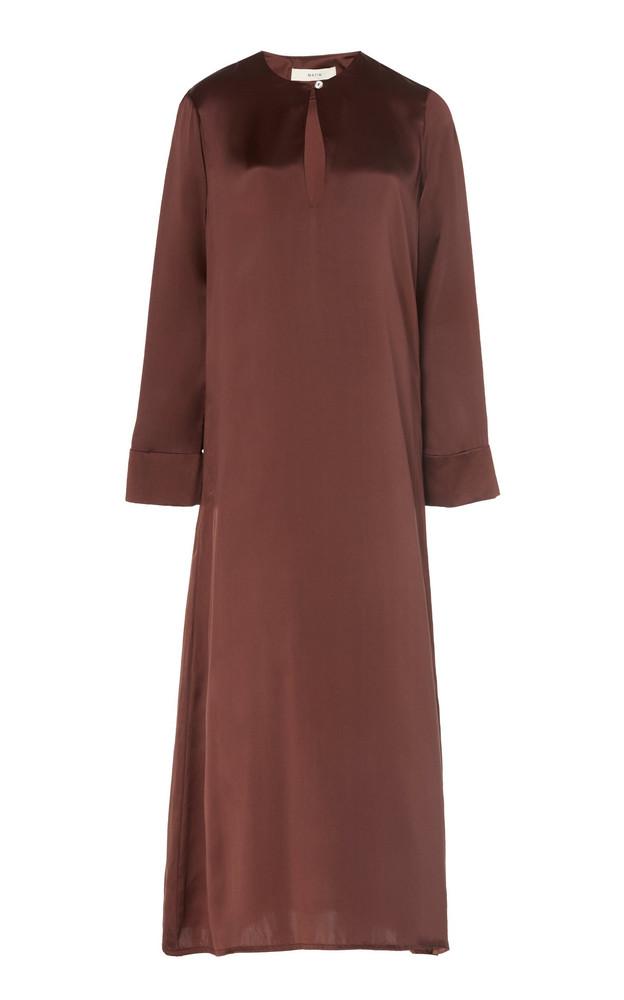 Matin Exclusive Palma Silk-Satin Midi Dress in brown