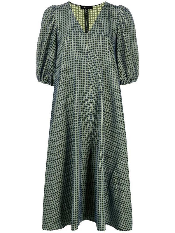Stine Goya puff-sleeve check midi-dress in blue