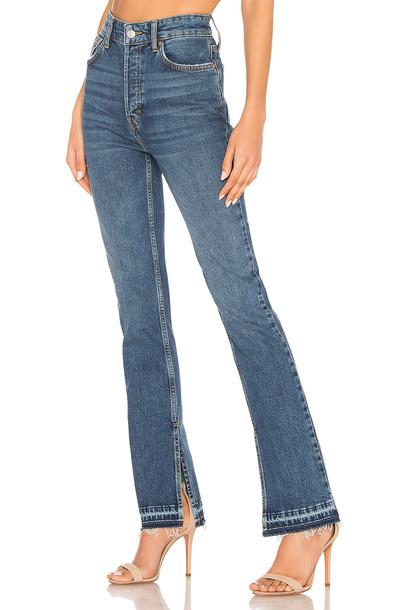 Free People Emmy Split Hem Boot Cut Jean in blue