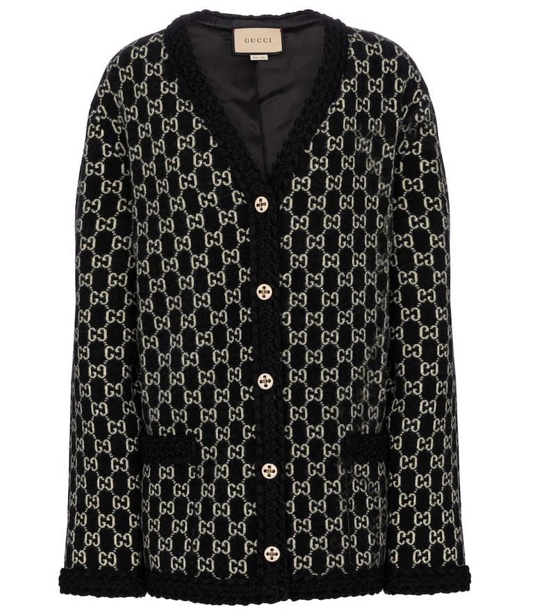 Gucci GG jacquard wool cardigan in black