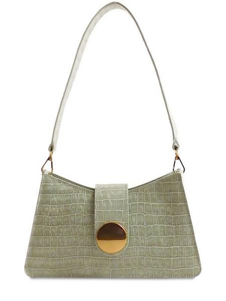 ELLEME Baguette Croc Embossed Shoulder Bag in mint