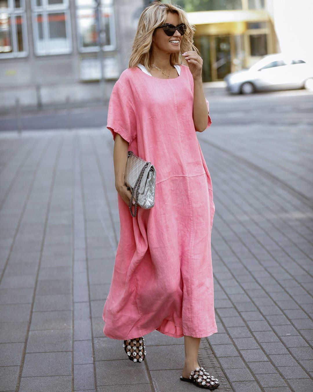 dress pink dress midi dress slippers bag