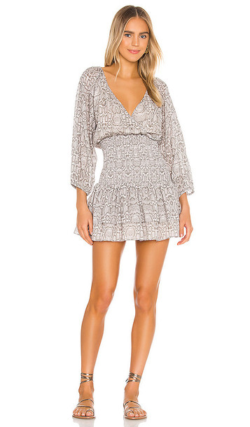 Suboo Sylvie Smocked Mini Dress in Grey