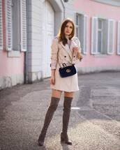 coat,trench coat,double breasted,mango,over the knee boots,mini skirt,turtleneck,gucci bag