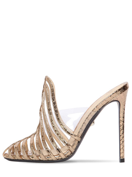 ALEVÌ 110mm Leather & Plexi Mule Sandals in gold