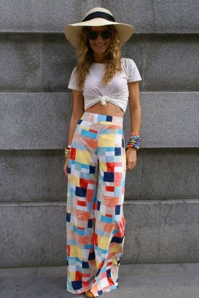 pants palazzo pants palazzo pants wide leg plazzos wide-leg pants colorful pants