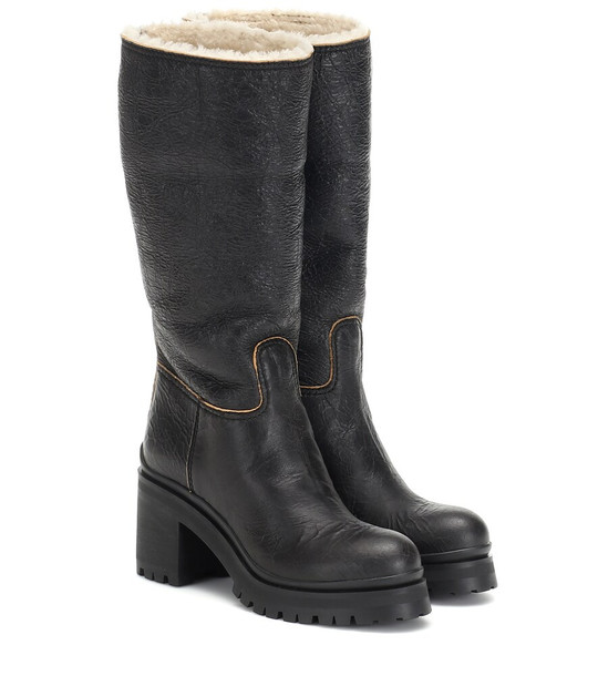 Miu Miu Shearling-trimmed ankle boots in black