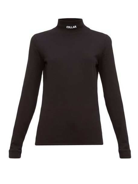 Vetements - Collar Embroidered Cotton Jersey Top - Womens - Black