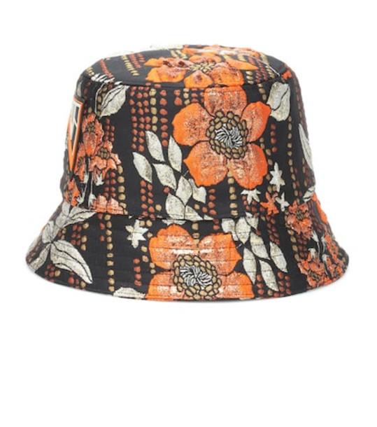Prada Brocade bucket hat in orange