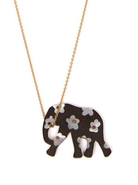 Marc Alary - Elephant 18kt Gold, Ebony & Sapphire Necklace - Womens - Black Multi