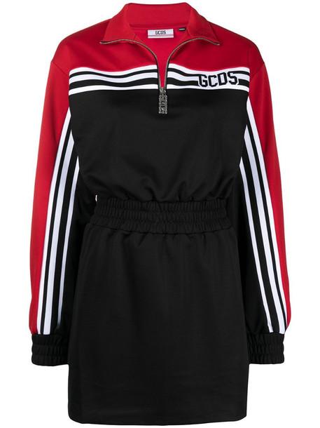 Gcds half-zip sweatshirt dress in black