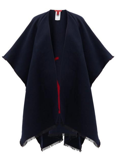 Valentino - V Logo Wool Blend Poncho - Womens - Navy