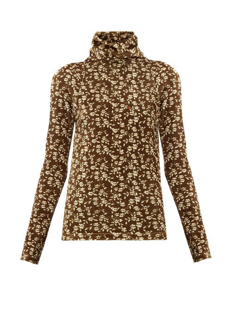 Dodo Bar Or - Brenda Roll Neck Floral Print Velour Sweater - Womens - Khaki Multi
