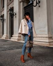 top,striped shirt,brown boots,bag,mom jeans,coat